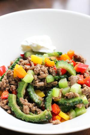 ひき肉と夏野菜の炒め物